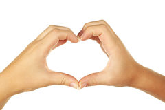 Woman hand making a heart. Stock Image