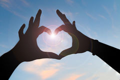 Woman hand making love sign Royalty Free Stock Image