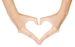 Woman hand making sign Heart Royalty Free Stock Images