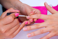 Woman hand on manicure Stock Images