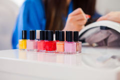 Woman hand on manicure treatment in beauty salon. Beauty parlour Royalty Free Stock Photography