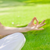 Woman hand during meditation Stock Image