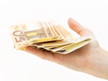 Woman  hand with money (euro). Close up of hand with money (euro Royalty Free Stock Photography
