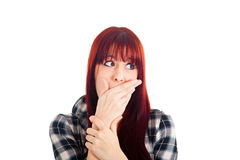 Woman hand mouth Stock Photo