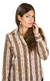 Woman With Hand Near Face Stock Photos