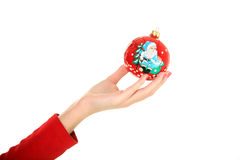 Woman hand with new year toy Stock Photos