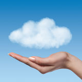 Woman hand offer the cloud Royalty Free Stock Photography