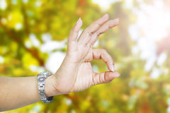 Woman hand in ok sign. Blur background Stock Photo