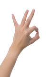Woman hand OK sign isolated on white background Stock Photo