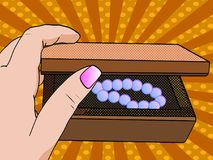 Woman hand opening jewelry box. Close-up opens the casket. Pop art. Vector illustration Stock Photo