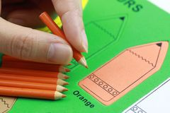 Woman hand orange pencil crayon. Many orange pencil crayons On the green color puzzle background stock photo