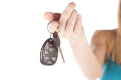 Woman hand out keys Stock Photography