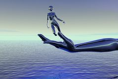 Woman on hand over sea. Three dimensional illustration of liquid female figure jumping from large hand over blue sea Royalty Free Stock Photos