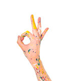 Woman hand in paint with ok symbol Stock Photography