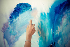 Woman hand painting Stock Photo