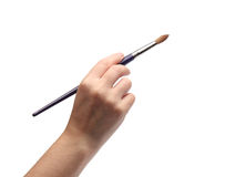 Woman hand paiting over white Royalty Free Stock Images