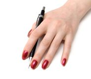 Woman hand with pencil Royalty Free Stock Photography