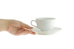 Woman hand with perfect white cup Stock Photography