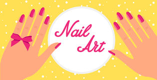 Woman hand with pink fingernails and pink bow on yellow background. Vector flat design of manicure procedure. Woman hand with pink fingernails and pink bow on Stock Images