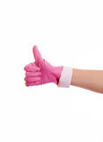 Woman hand in pink rubber glove gesturing ok (yes) isolated on w Royalty Free Stock Images