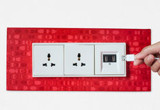 Free Woman Hand Plug USB Wall Socket/outlet Plate Stock Photography - 45981512