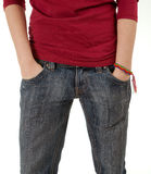 Woman with hand in pocket Stock Photography