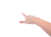 Woman hand (point up) on white background Stock Photography
