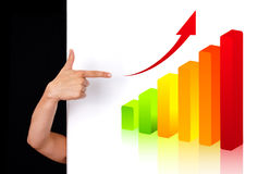 Woman hand pointing to chart 2 Stock Images
