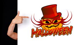 Woman hand pointing to halloween sign Stock Photography