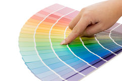Woman hand pointing to a sample color chart Royalty Free Stock Photography