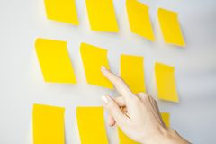 Idea postit sticky note. Woman hand pointing to sticky note stock image