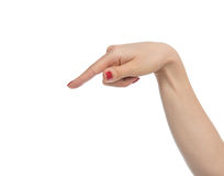 Woman hand pointing, touching or pressing Royalty Free Stock Photo