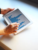 Woman hand pointing at touchscreen with business graph Royalty Free Stock Photos