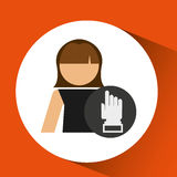 Woman hand pointing up icon design. Illustration Stock Photography