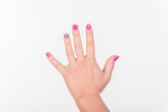 Woman Hand With Polish Nails Shows it. White Bakcground. Woman Hand With Polish Nails Shows it. White Bakcground royalty free stock photography