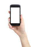 Woman hand presenting a smart phone screen application Stock Photo