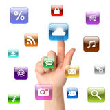 Woman hand pressing cloud computing icon Royalty Free Stock Images