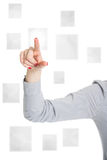 Pushing the button on virtual touch screen Stock Image