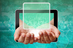Woman hand pushing on touch screen interface Stock Image