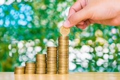 Woman hand put coin on step of coins stacks and gold coin money. In the glass jar on table in garden with green background, for saving for the future banking Stock Photo