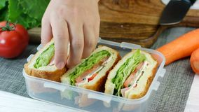 Woman hand put fresh made sandwiches into lunch box. Woman hand put fresh made sandwiches into the lunch box stock video