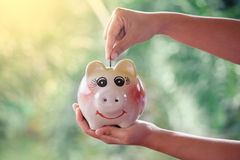 Woman hand putting coin into Piggy Bank Stock Photography