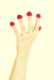 Woman hand with raspberries. Woman hand with fresh raspberries Royalty Free Stock Image