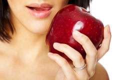 Woman hand red apple Royalty Free Stock Photography