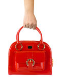 Woman hand with red bag Royalty Free Stock Photos