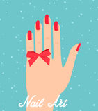 Woman hand with red fingernails. Gift certificate for a nail sal. On Stock Image