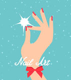 Woman hand with red fingernails. Gift certificate for a nail sal. On Stock Photo