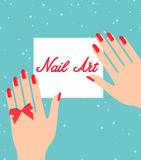Woman hand with red fingernails. Gift certificate for a nail sal. On Stock Photography