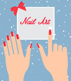 Woman hand with red fingernails. Gift certificate for a nail sal. On Royalty Free Stock Photos