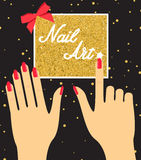 Woman hand with red fingernails on golden background. Gift certi. Ficate for a nail salon Stock Photos